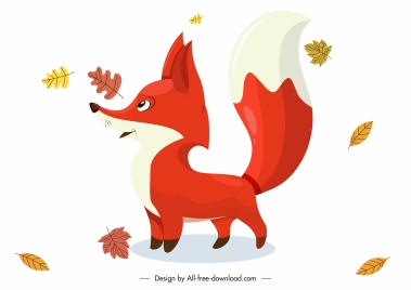 autumn design elements cute fox leaves sketch