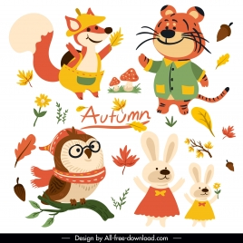 autumn design elements cute stylized animals plants sketch