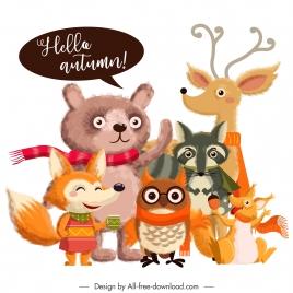 autumn design elements cute stylized cartoon animals sketch