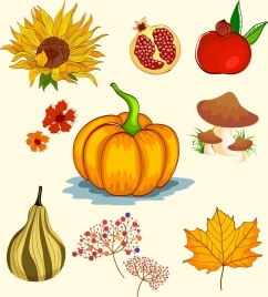 autumn design elements fruit mushroom sunflowers leaf icons