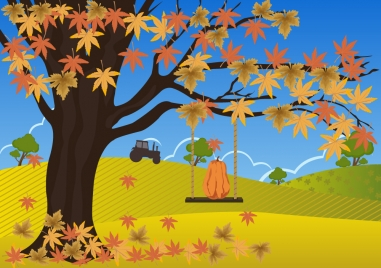 autumn drawing design with falling leaves on field