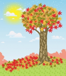 autumn drawing illustration with leaves and tree