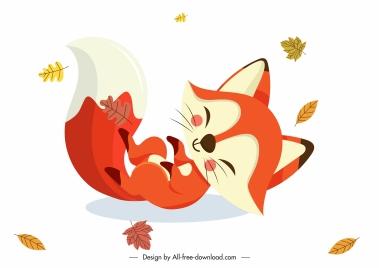 autumn fox icon cute cartoon character playful sketch
