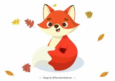 autumn fox icon cute cartoon sketch