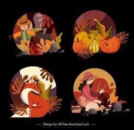 autumn icons colorful classic natural elements decor