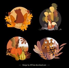 autumn icons dark colorful classic symbols sketch