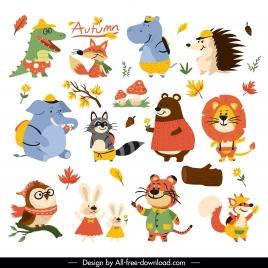 autumn icons stylized animals leaf sketch cartoon design