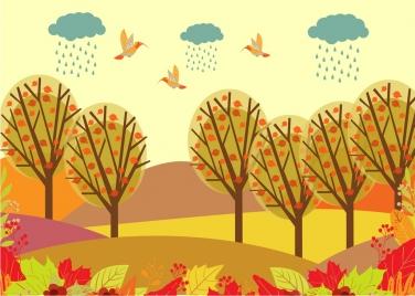 autumn landscape drawing colorful cartoon birds trees decoration