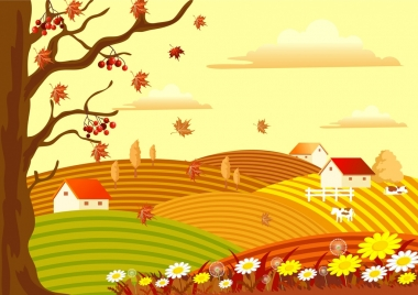 autumn landscape drawing countryside scenery leafless tree