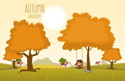 autumn landscape under sunshine vector illustration