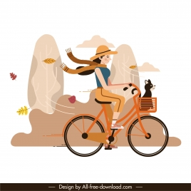 autumn painting girl riding bicycle wind sketch