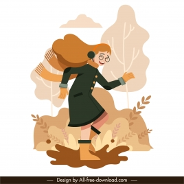 autumn painting joyful girl sketch cartoon design