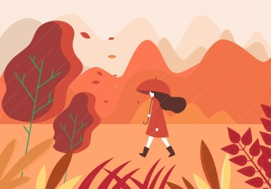 autumn painting walking woman rain icons cartoon design