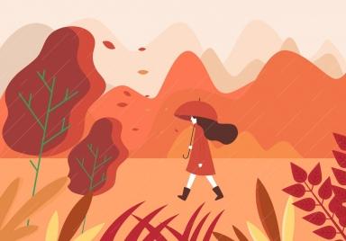 autumn painting walking woman rain icons cartoon design