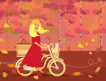 autumn painting woman bicycle falling leaves ornament