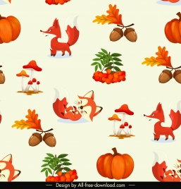 autumn pattern template cute fox chestnut munshroom pumpkin