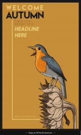 autumn poster template sparrow flower sketch elegant classic