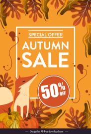 autumn sale banner fox leaves pumpkin sketch