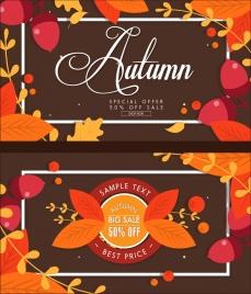 autumn sale banners orange leaves calligraphic decor
