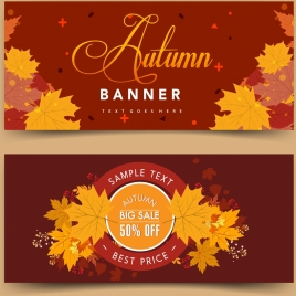 autumn sales banner template yellow leaves stamp calligraphy