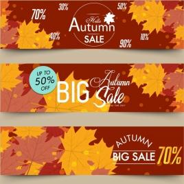 autumn sales banners horizontal design brown leaves decor