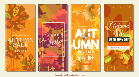 autumn sales banners vertical design colorful leaves decor