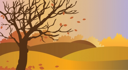 autumn scenery drawing illustration with falling leaves