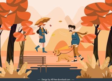 autumn scenery painting lifestyle sketch cartoon design