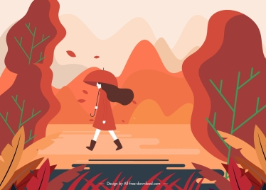 autumn scenery painting walking lady sketch colorful classic