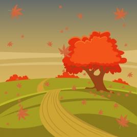 autumn scenery vector illustration with tree on hill