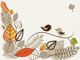 autumn with birds and leaves