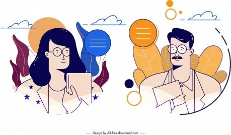 avatar templates man woman icons classical cartoon characters