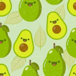 avocado fruit background flat green design stylized icons