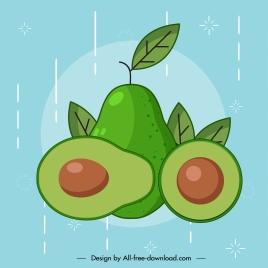 avocado fruit icon classical handdrawn flat design