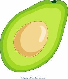 avocado painting slice icon bright colorful flat design