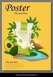 avocado product advertising poster bright colorful elegant decor