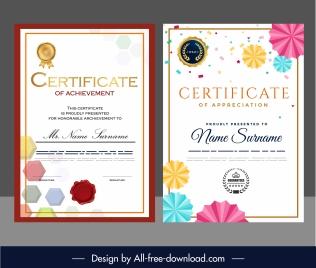 award certificate templates elegant colorful geometric shapes decor