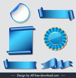 award design elements modern elegant blue 3d shapes