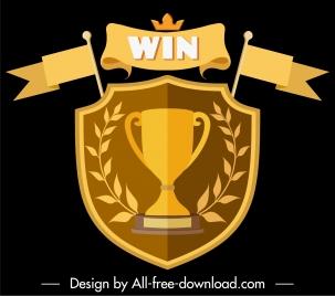 award logotype symmetric golden shield ribbon trophy decor