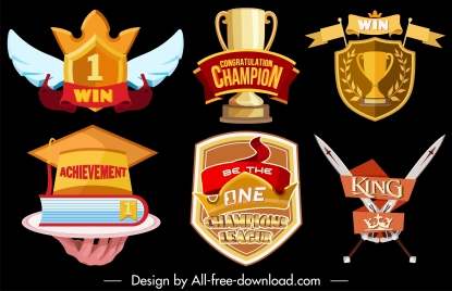 awards icons modern colorful 3d design
