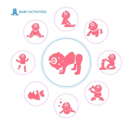 baby activities icons with round silhouettes design