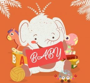 baby background elephant toys icons colored cartoon