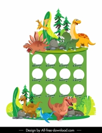 baby birthday background cute dinosaur chacters icons
