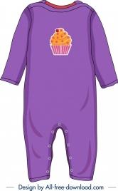 baby clothes template cupcake icon decor violet design