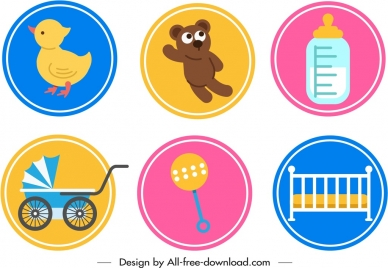 baby design elements objects icons circles isolation