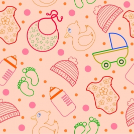 baby design elements pattern colored flat outline