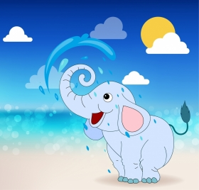 baby elephant drawing colored cartoon design