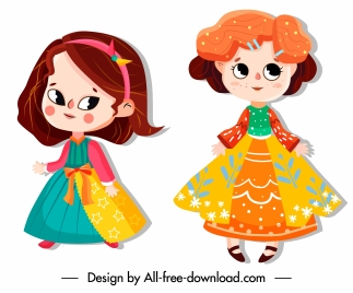 baby girl icons colorful costumes cute cartoon characters