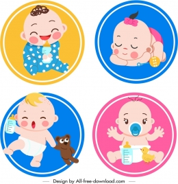 baby icons collection cute cartoon sketch circles isolation