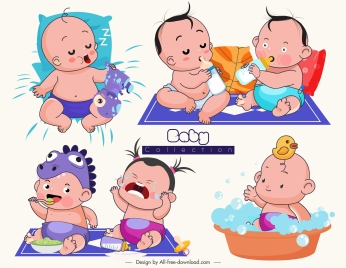 baby icons funny emotion sketch cartoon characters